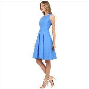 Kate Spade fit and flare yarn die midi blue dress